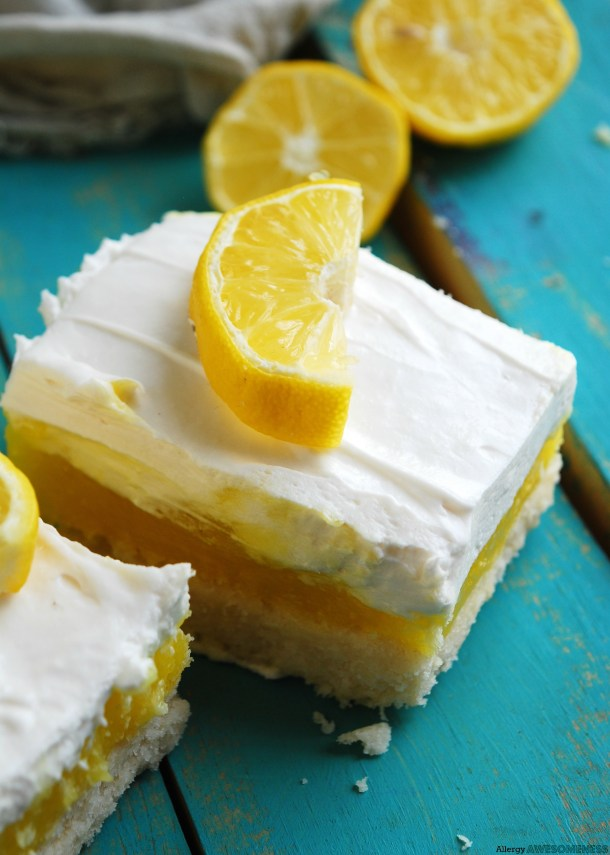 Egg-free Lemon Cream Pie Bars Dessert Recipe by AllergyAwesomeness