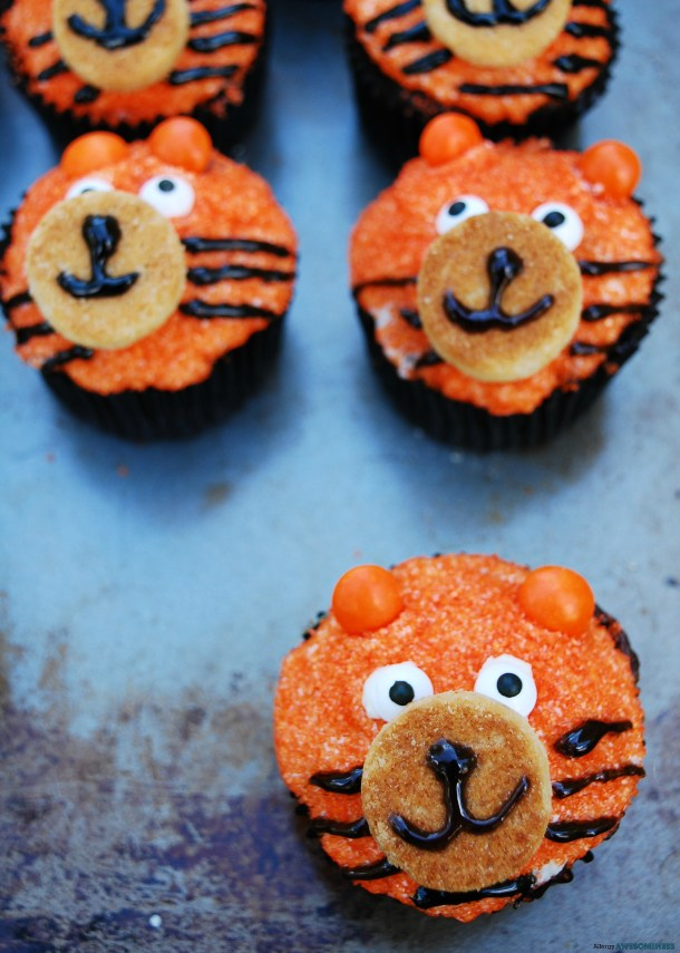 Dairy-free Tiger Birthday Cupcakes by Allergy Awesomeness