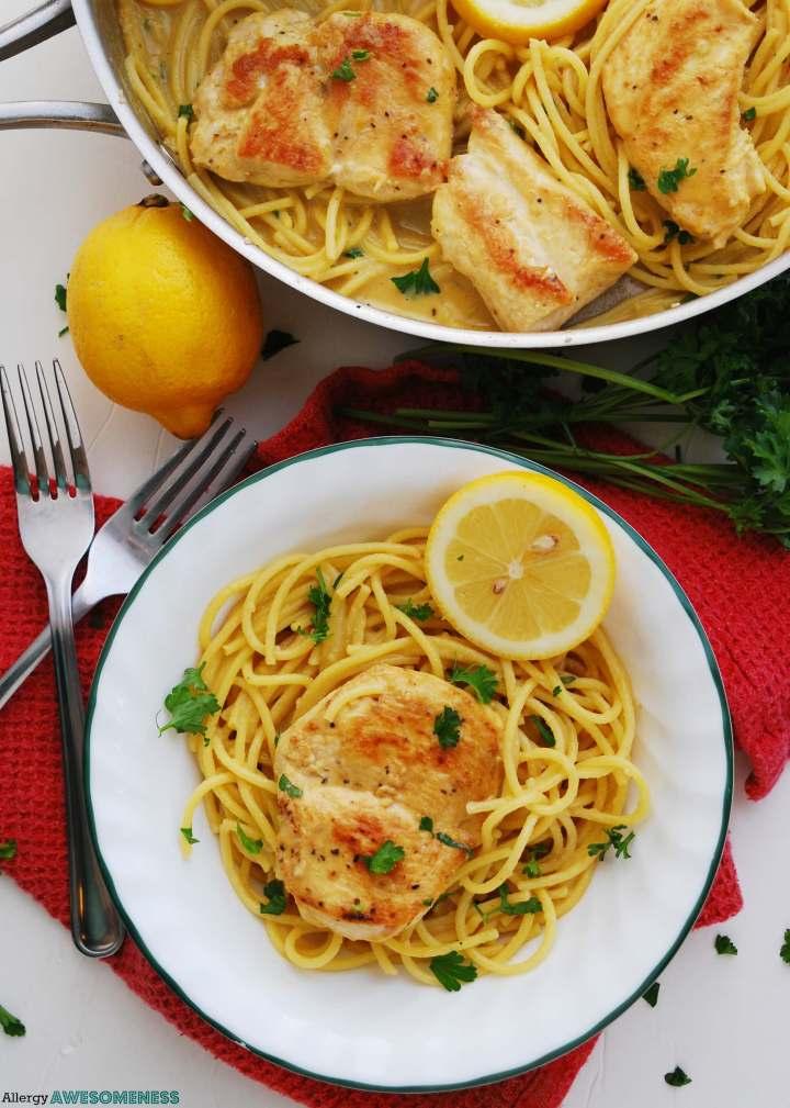 How to make lemon chicken pasta gluten and dairy free