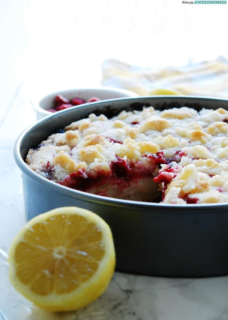 Vegan Raspberry Lemon Streusel Cake