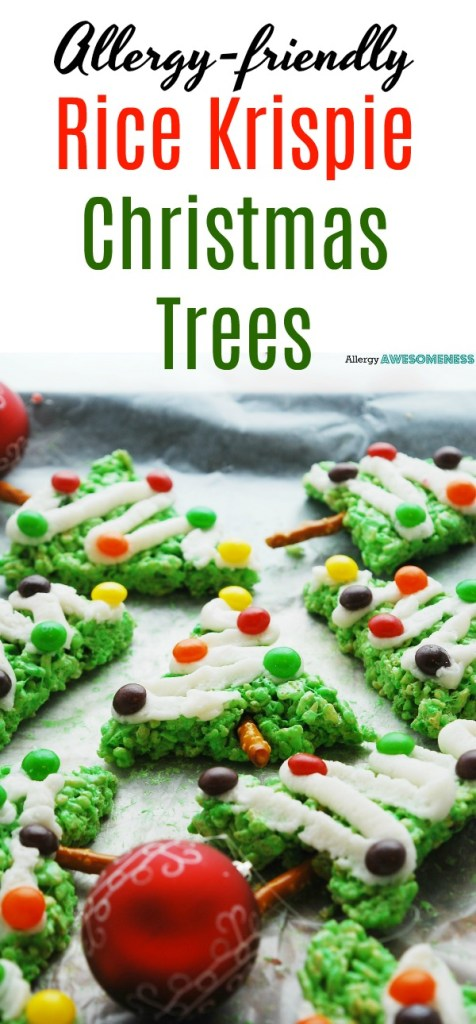allergy-friendly rice krispie christmas trees recipe