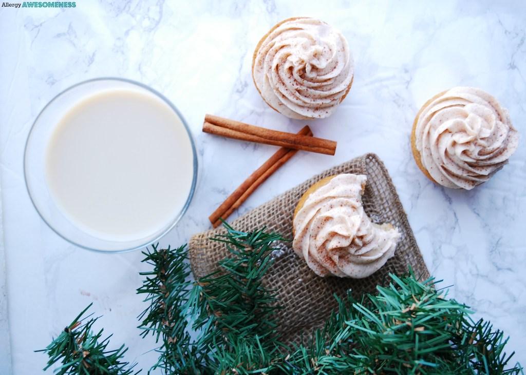 dairy-free eggnog cupcakes