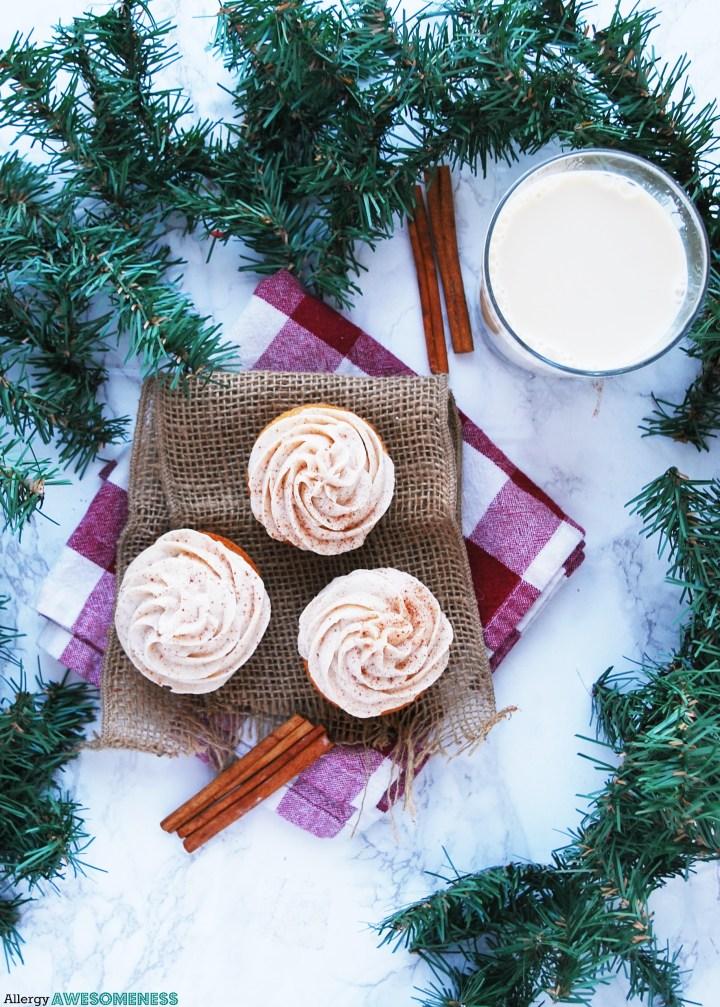 allergy-friendly eggnog cupcakes