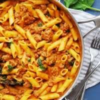 Gluten & Dairy-free Spinach & Sausage Pasta (Gluten, dairy, egg, soy, peanut & tree nut free; top-8-free)