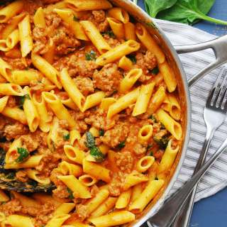 gluten-free spinach and sausage pasta