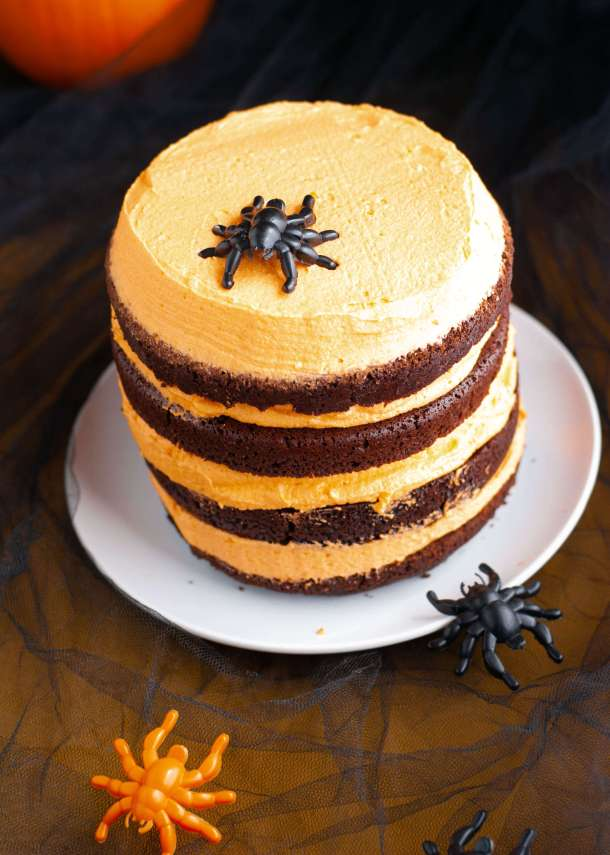 gluten-free-vegan-black-and-orange-Halloween-cake