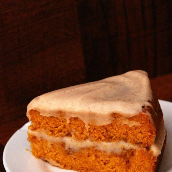 Pumpkin Cinna-Swirl Cake with Spiced Maple Cream Cheese Frosting (GF, Vegan)