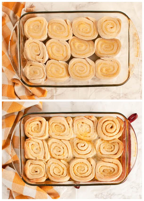 gluten-free-vegan-orange-rolls-before-and-after-baking-comparison-photo