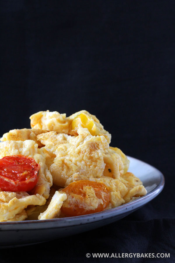 Dairy-free scramble with tomatoes.