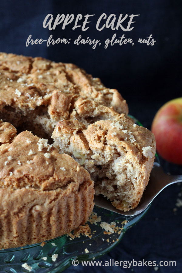 Gluten-free apple cake with a slice taken out