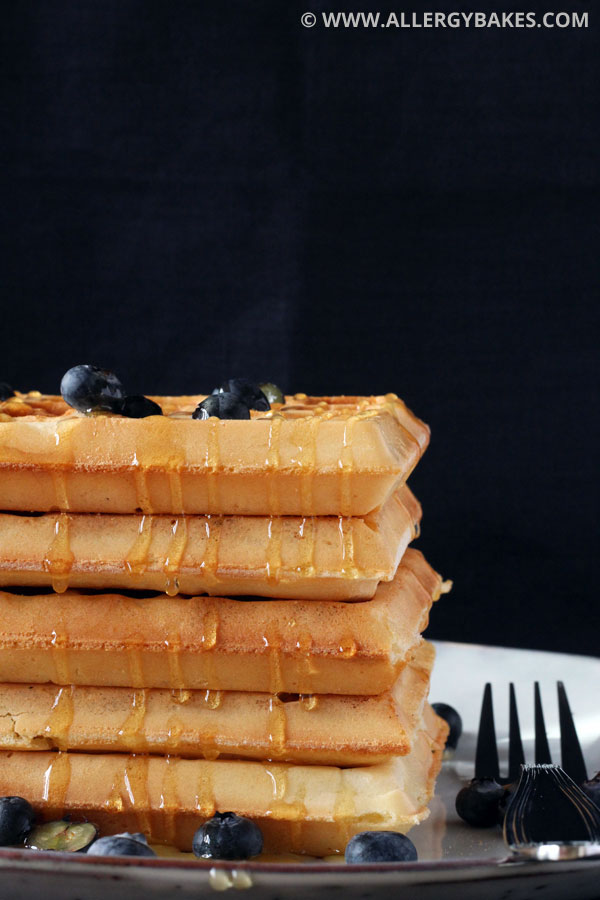 Honey and blueberry topped gluten-free waffles.