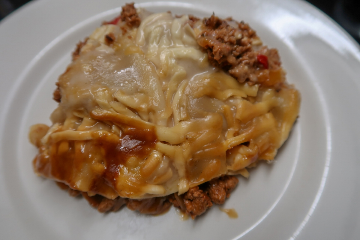 The finished Slow cooker lasagne recipe