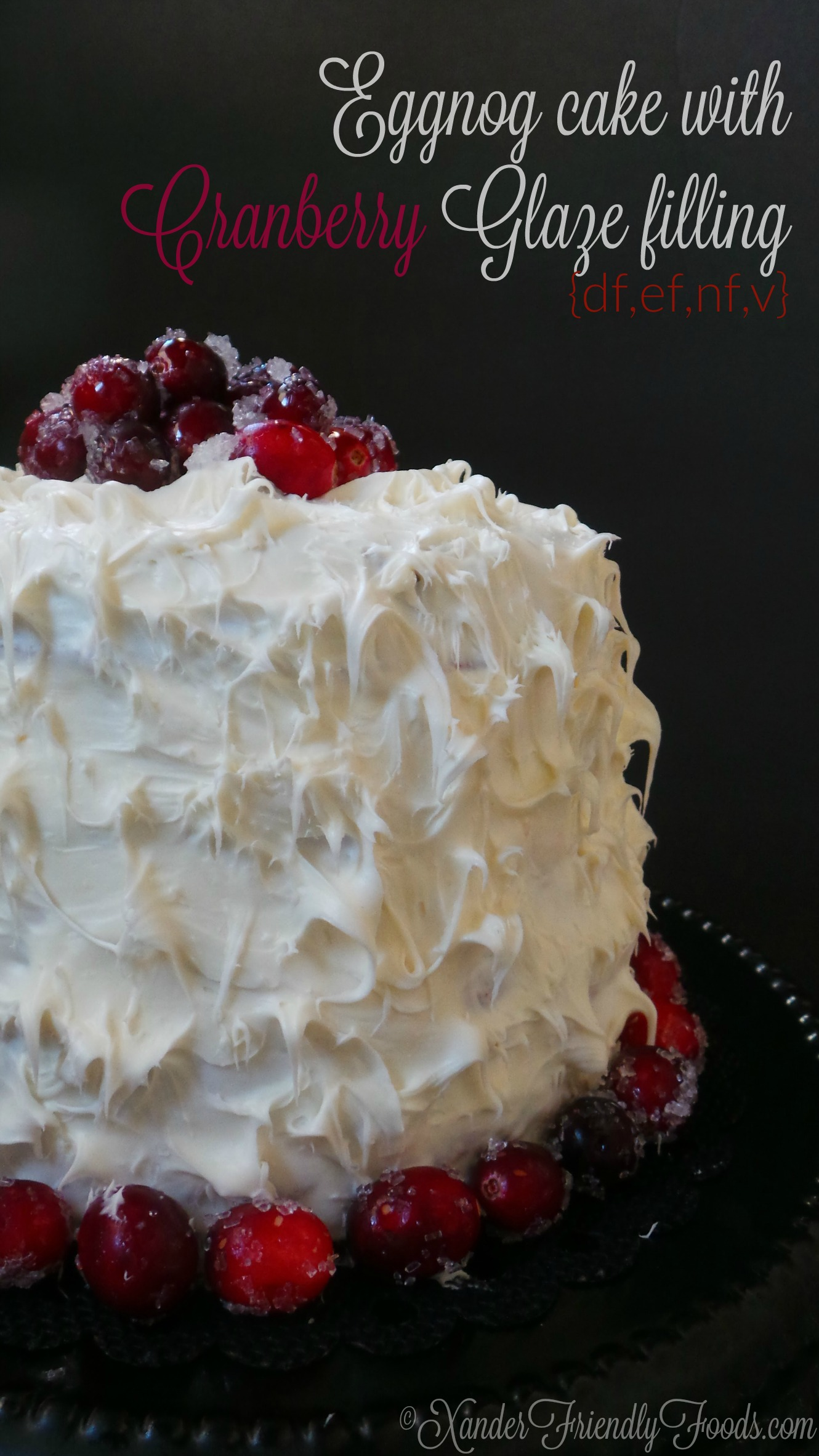 Almost too pretty to eat, but you'll want to anyways! Snowy white Eggnog flavored cake with layers of cranberry glaze for the perfect Holiday blend cake. V & free of dairy, eggs, soy & nuts