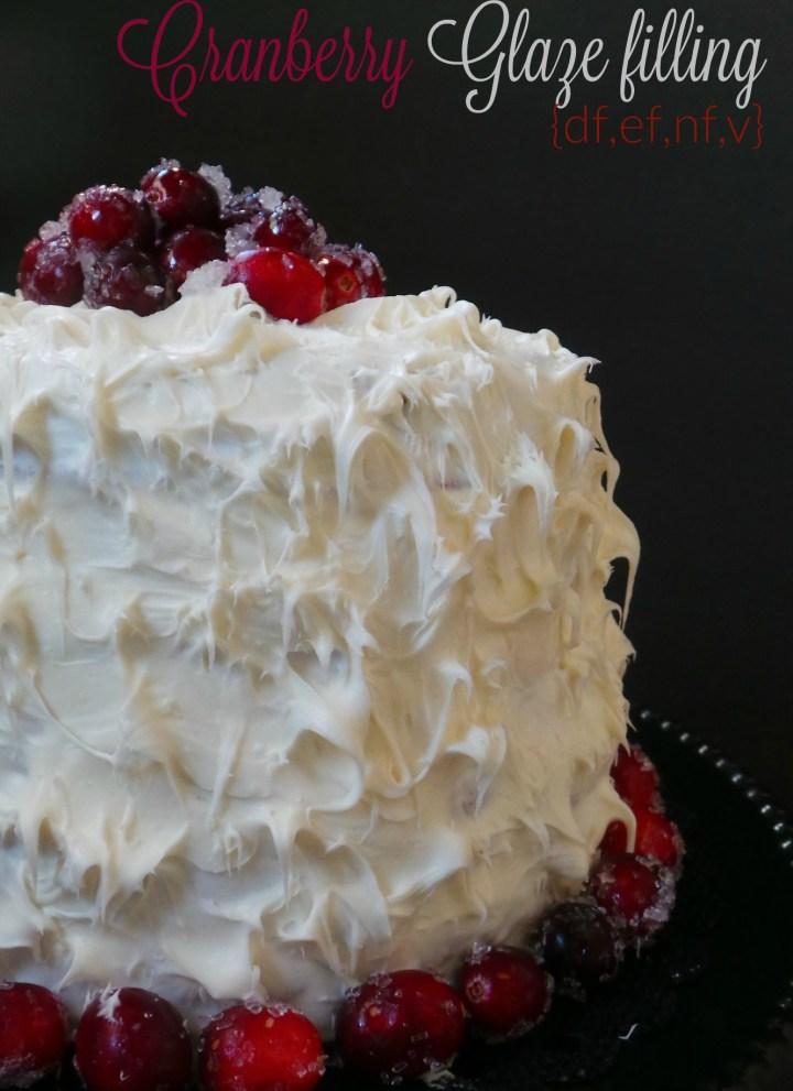 Vegan Eggnog Cake with Cranberry Glaze