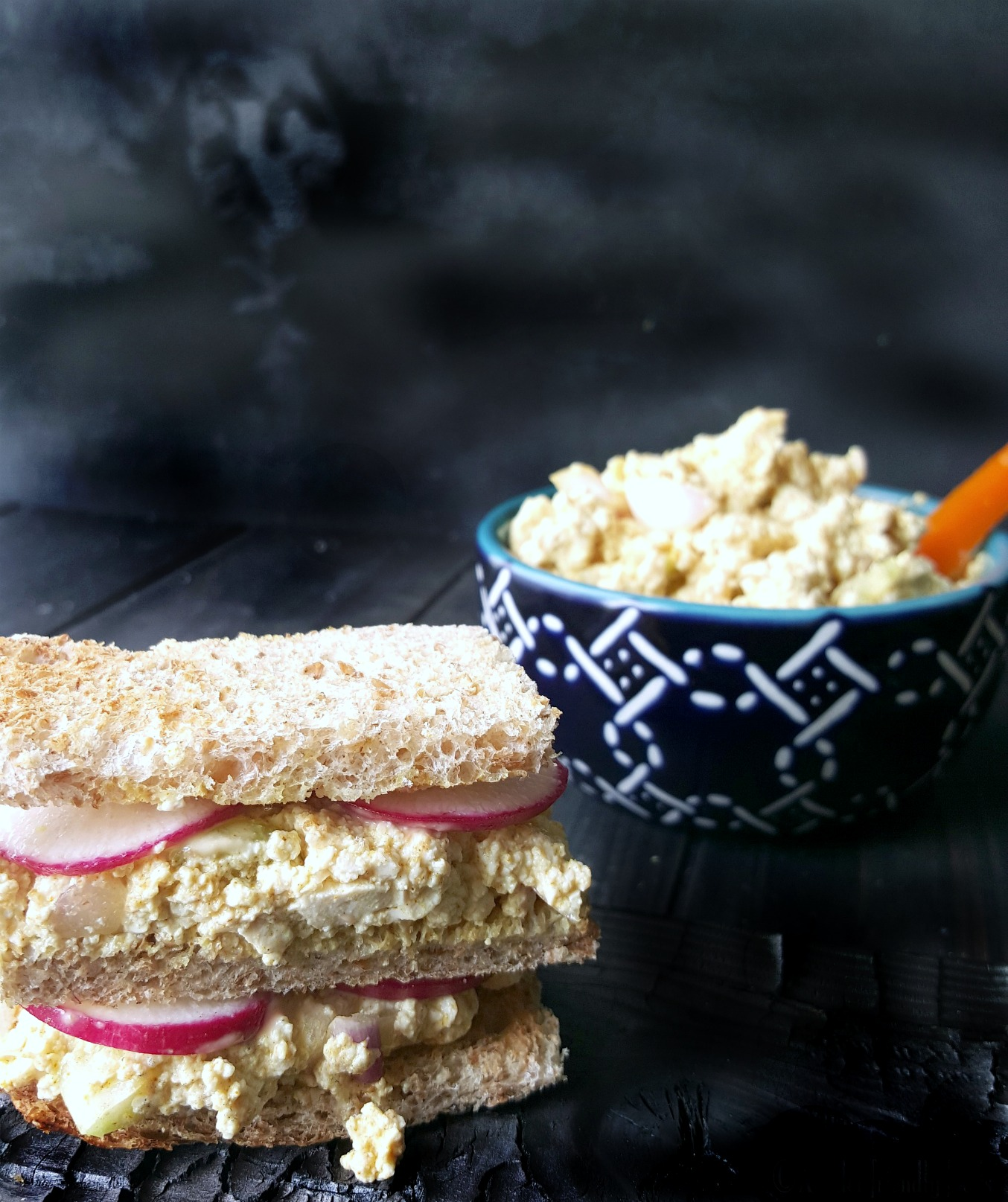 "This creamy ""egg"" salad is made in minutes, using tofu instead, keeping it egg-free & allergy friendly. Protein packed, easy to make and quite egg-cellent."