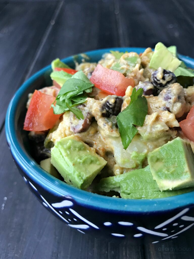 This vegan Mexican Potato Salad is loaded with buttery avocado cream, black beans and tons of zesty flavor for a south-of-the-border take on a classic Summer recipe.