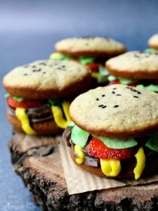 Whoopie Pie Burgers on wooden stand