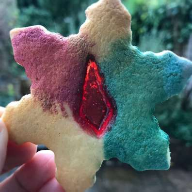 Vegan Stained Glass Sugar Cookie