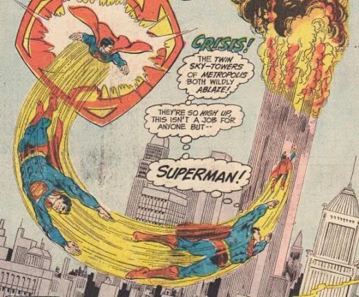 1973 - Superman-Comic. Nur Superman kann das Feuer der hohen Zwillings-Wolkenkratzer bekämpfen.