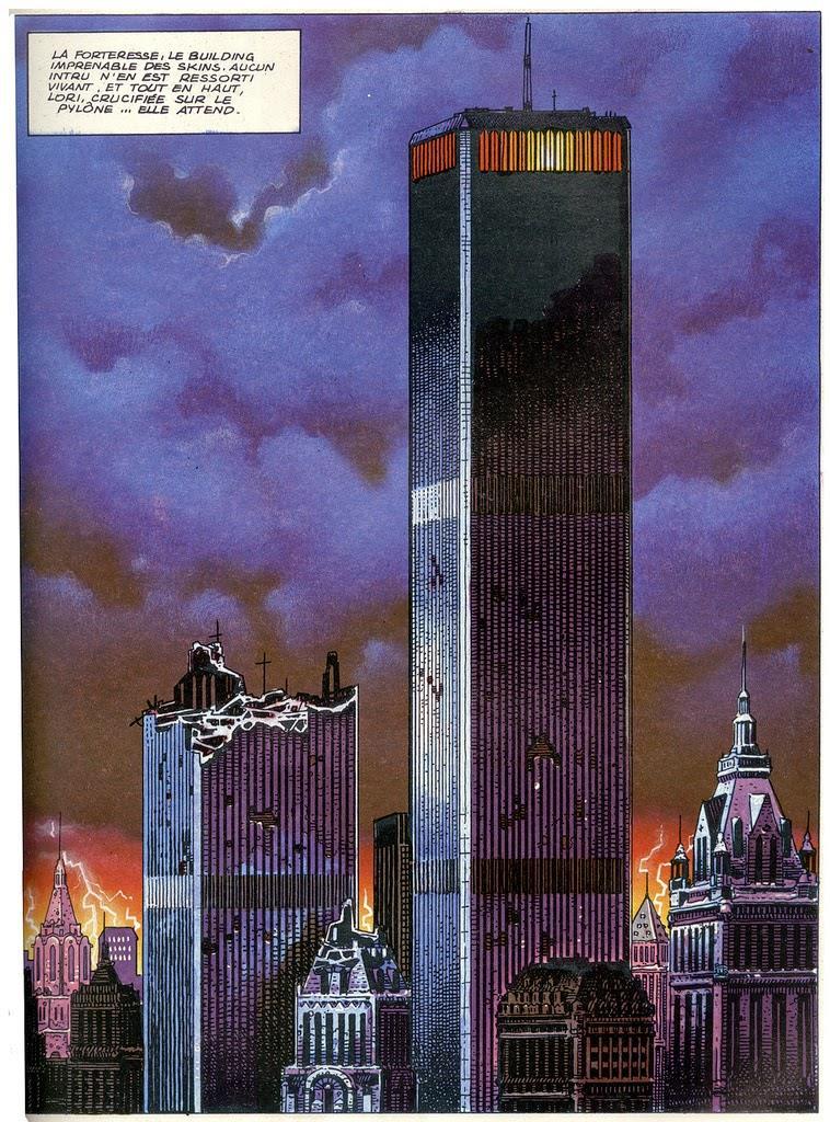 1985 - DC-Comics. Der spanische Comic-Zeichner Pepe Moreno malte einen zerstörten WTC-Turm.