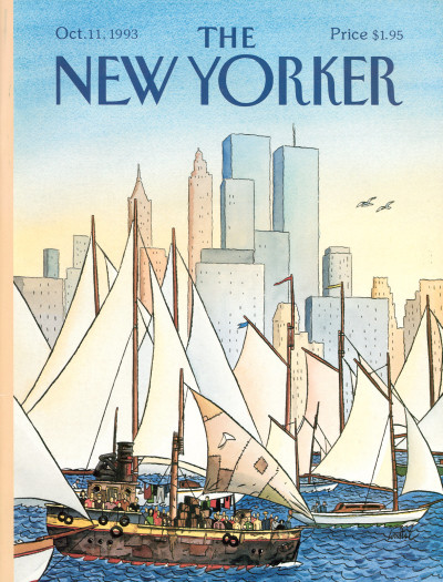 1993 - Titelbild des amerikanischen Magazines The New Yorker. Zwei Möwen steuern auf die Zwillingstürme zu.