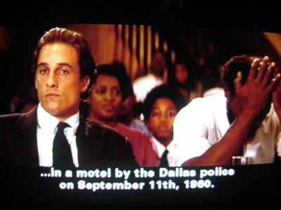 1996 - Justizthriller A Time to Kill (Die Jury). Im Gerichtssaal wird das Datum 9. 11. 1960 angesprochen. Und es stimmt - zumindest der Tag und der Monat - war die Zeit zum Morden.