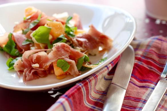 Salat aus Melone und Feta