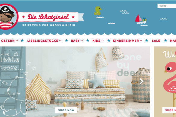Screenshot vom Onlineshop Schatzinsel in Berlin