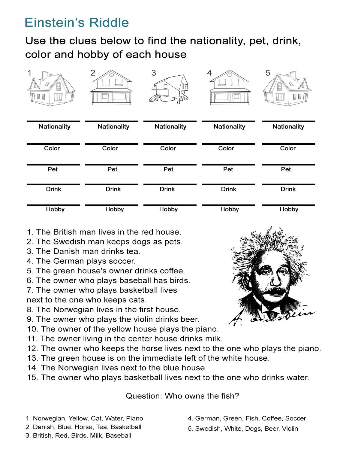Albert Einstein Worksheet