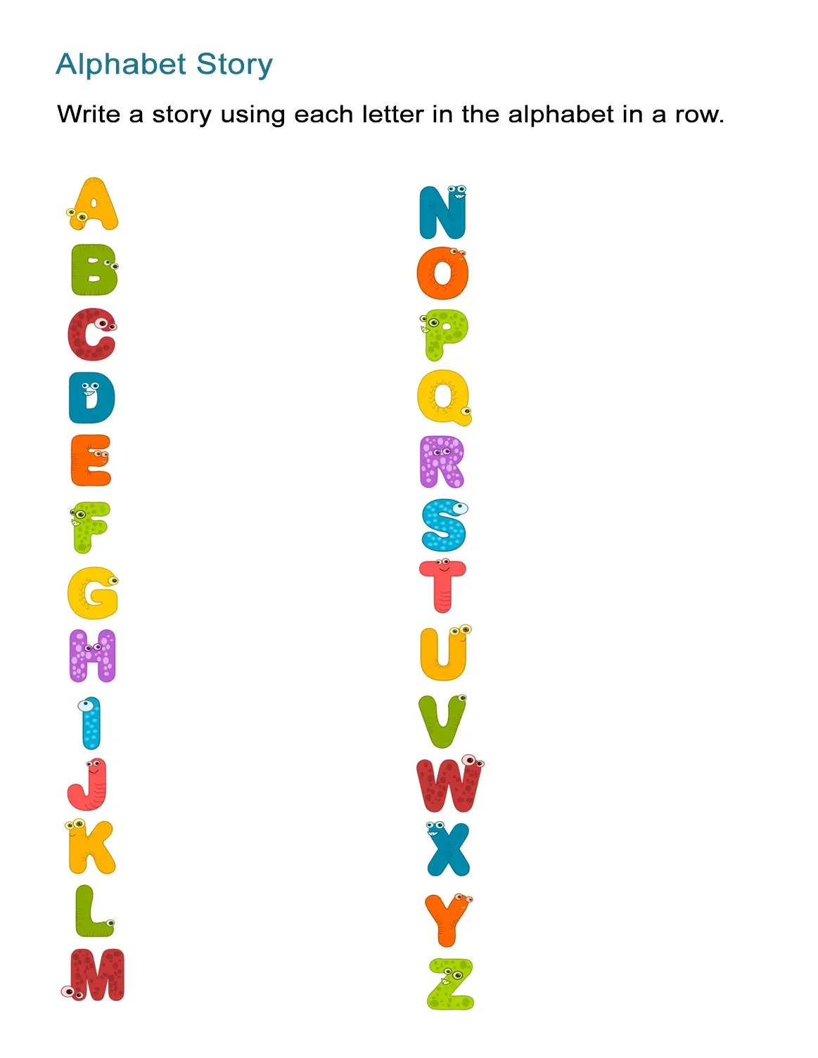 Alphabet Story Worksheet Create A Story From A To Z