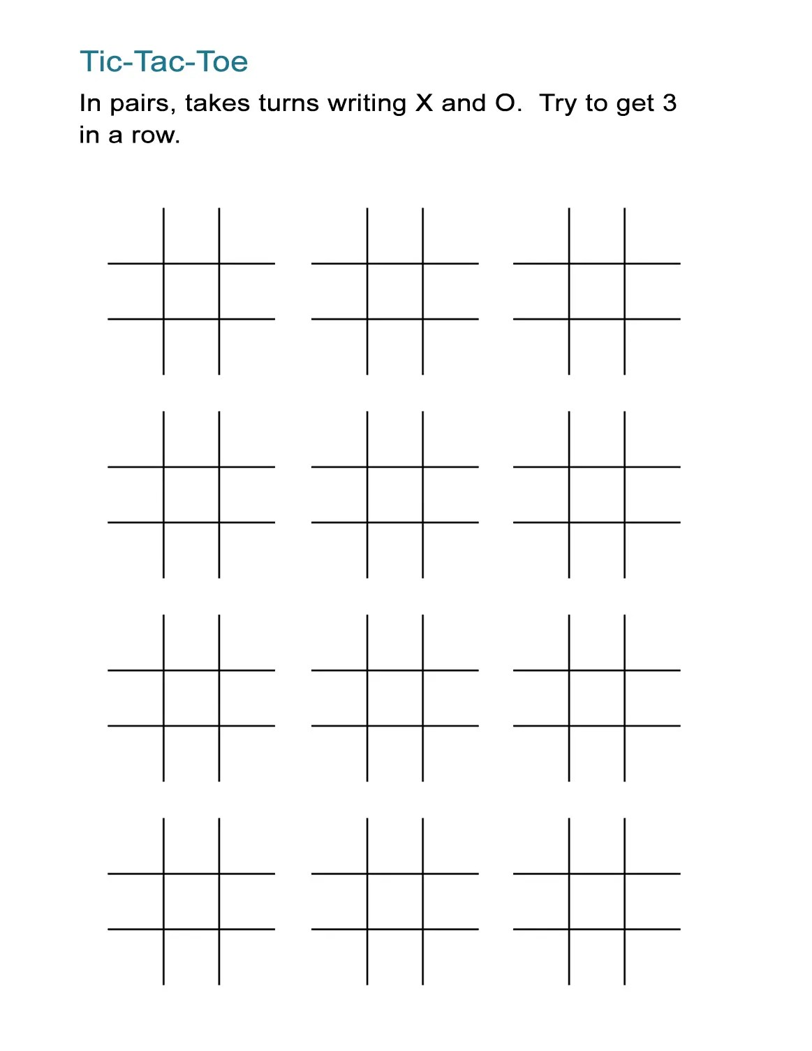 Printable Tic Tac Toe Sheets