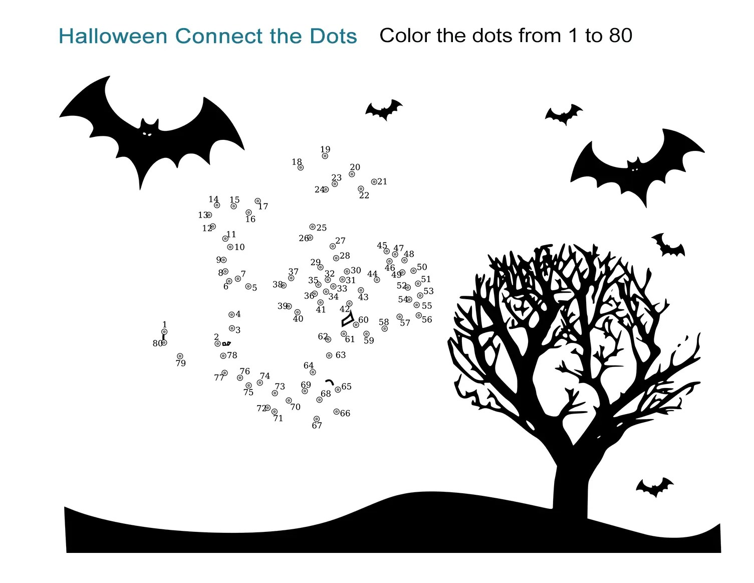 Halloween Connect The Dots Worksheet Easy Printable From 1 To 80