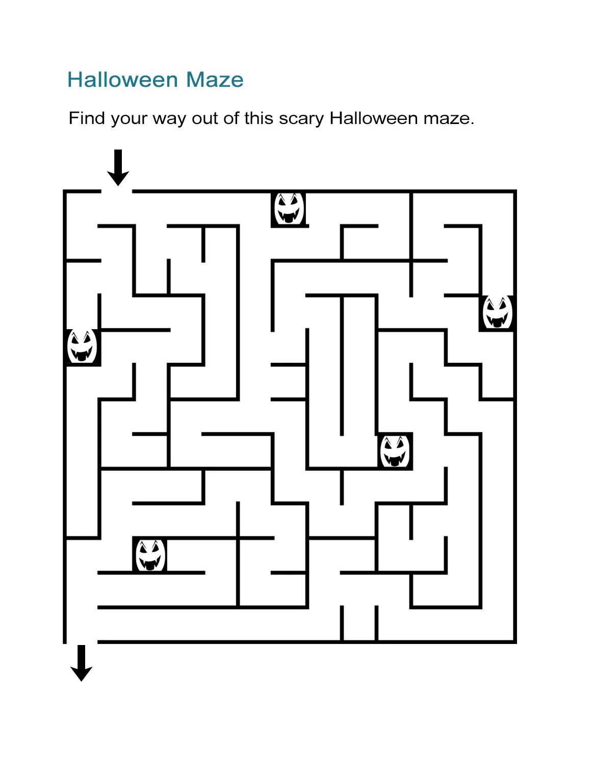 Halloween Math Maze Worksheet For Kindergarten