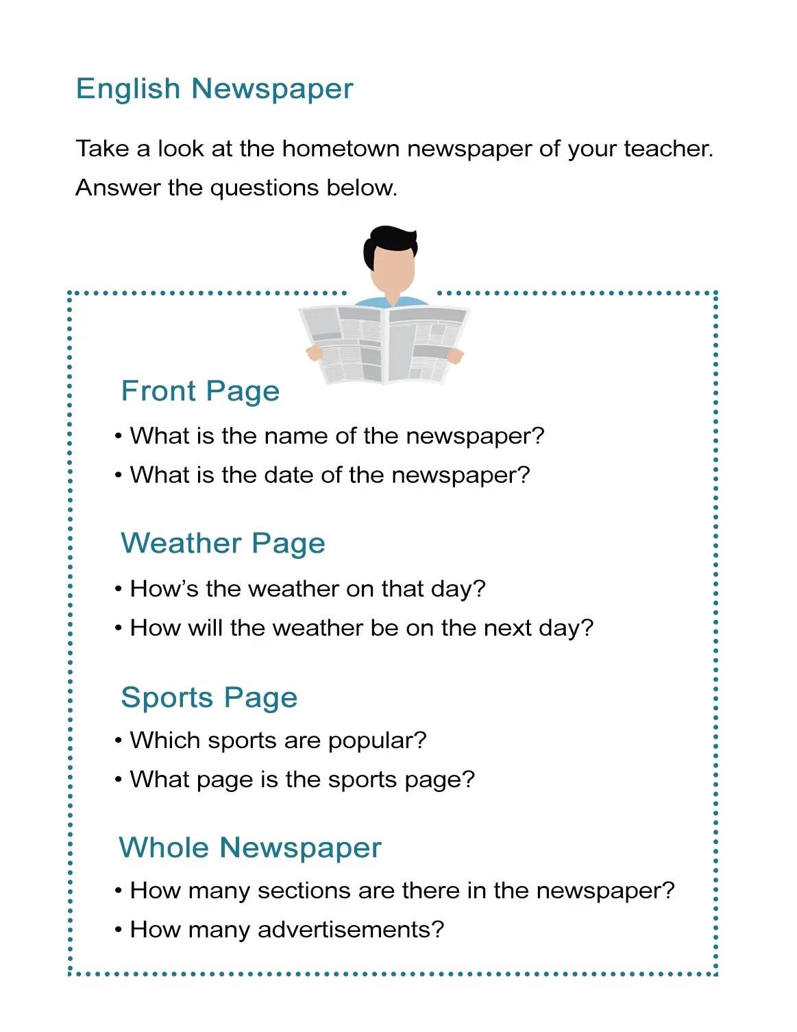Newspaper Article Worksheet Questions