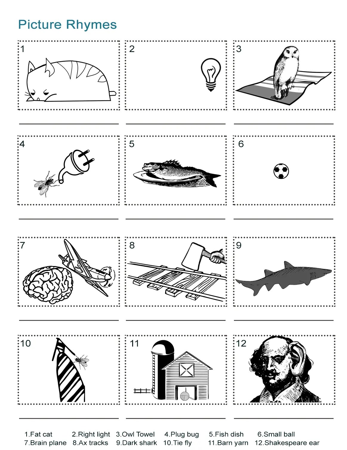Picture Rhymes Worksheet What Is The Rhyming Word In Each