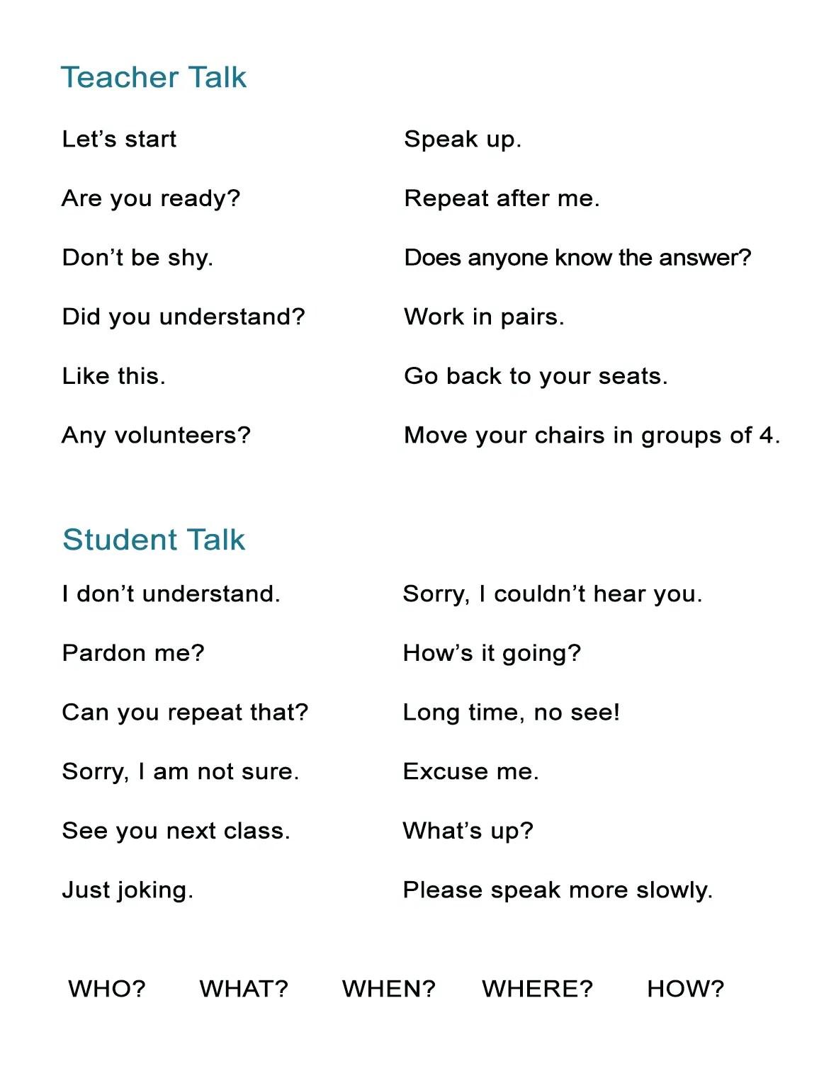 Classroom Language Teacher Talk And Student Talk