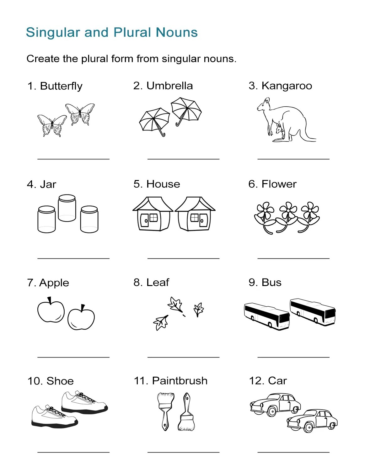 Leaves Free Singular And Plural Nouns Worksheet