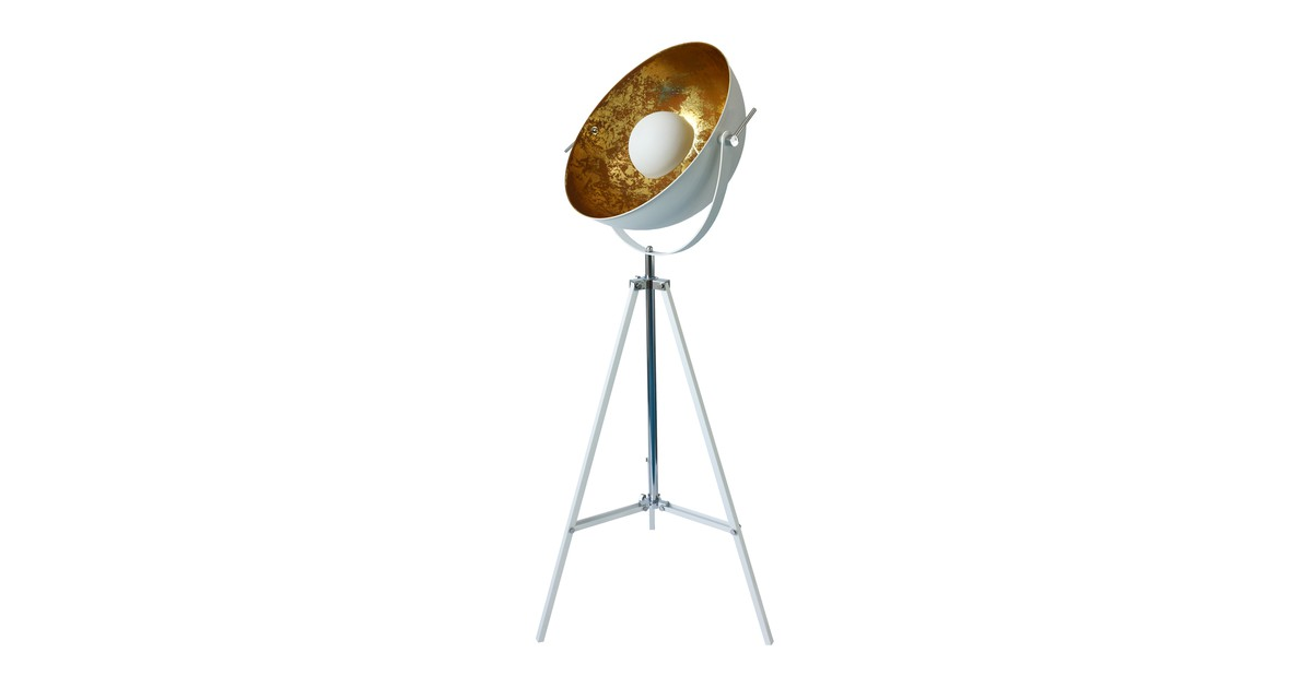 Groenovatie Nice Industrieel Design Tripod Vloerlamp Goud Wit