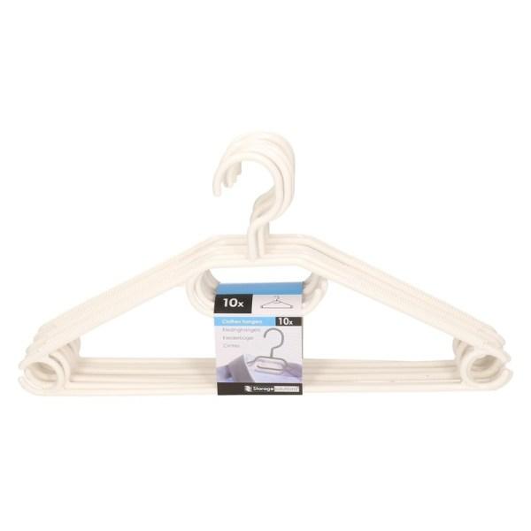 10x Plastic kledinghangers wit