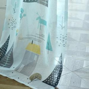 Eenvoudige moderne plant imitatie linnen persoonlijkheid gordijnen woonkamer slaapkamer kinderkamer gordijnen, maat: W3.5H2.7, model: punch type (kleine grijze boomtule)