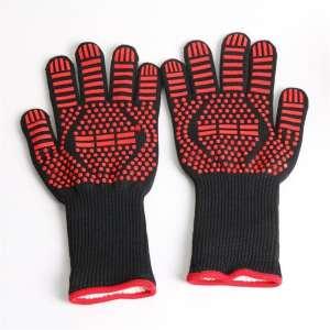 1 paar draagbare siliconen antislip weerstand op hoge temperatuur koken bakken barbecue handschoenen (rood ==)
