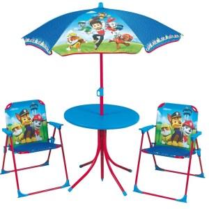 Paw Patrol tuinmeubels setje 4-delig kindermeubels - Tuinsetje klapstoelen/tafeltje/parasol - Rubble/Chase/Marshall - Kinderkamer meubeltjes - Tuinstoelen voor jongens/meisjes/kinderen - Action products