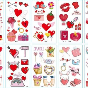 10 stuk Tattoo Sticker Gezicht Hand Cartoon Nep Tatoo Tijdelijke Waterdichte Taty model F Valentijnsdag