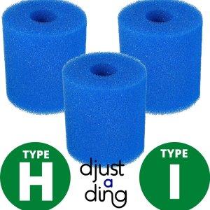3 x Type H / I Filter Zwembad Herbruikbaar - Geschikt als Zwembadfilter Intex of Bestway - Zwembad Onderhoud Filtercartridge - Djust A Ding