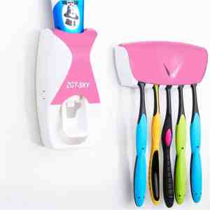 Automatische tandpasta dispenser set met 5 tandenborstelhouders (roze)