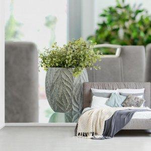 Fotobehang vinyl - Kamerplant op een tafel breedte 450 cm x hoogte 300 cm - Foto print op behang (in 7 formaten beschikbaar)