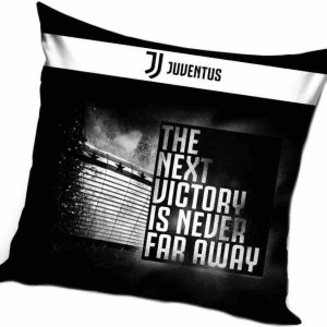 """Juventus kussen """"The Next Victory"""" 40x40cm met logo zwart/wit nieuwe collectie"""