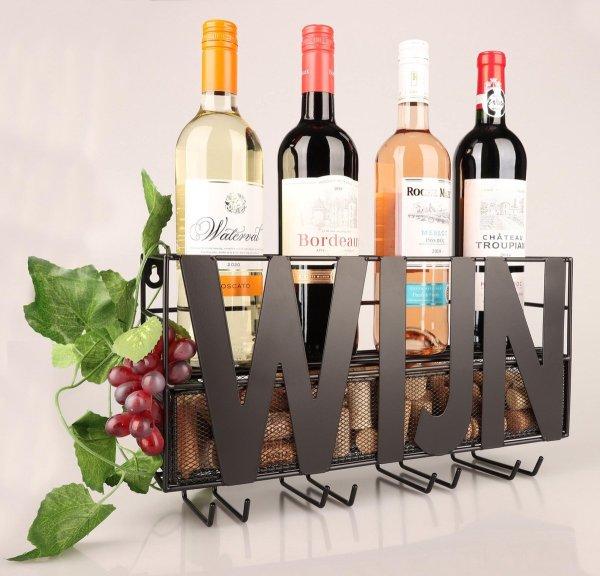 Ophangrek Wijnglazen - Wijnrek - Glazenrek - Metaal Wijn Glas Rek Houder - Industrieel Retro Zwart - Flessenhouder Vinoloog - Thuisbar Schroeven Inbegrepen - ®Basco Producten