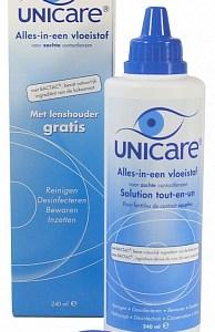 Unicare Lenzenvloeistof Alles-in-een Voor Zachte Lenzen Met Gratis Lenshouder