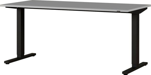 Zit sta bureau Agenda B160xH67-87xD80 cm in lichtgrijs met zwart